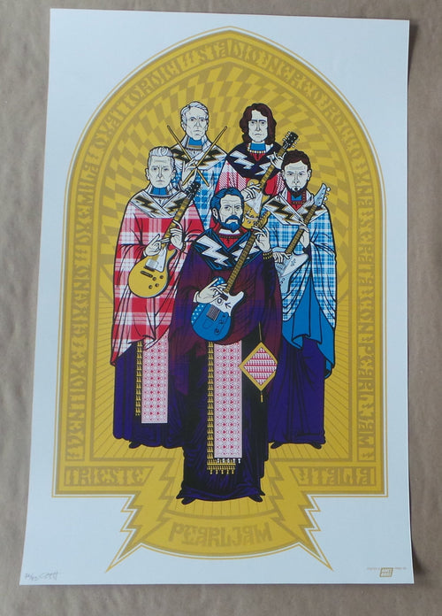 PEARL JAM - 2014 AMES BROTHERS POSTER TRIESTE ITALY METALLIC S/N'd xx/85