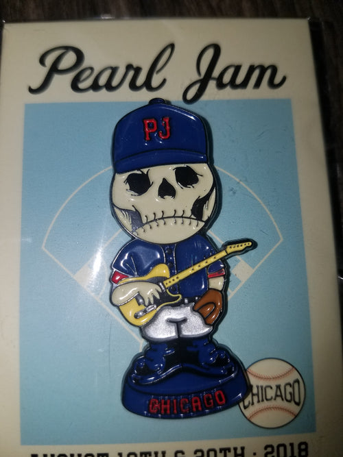 Pearl Jam Wrigley Field Chicago Skully Enamel Pin Limited August 2018