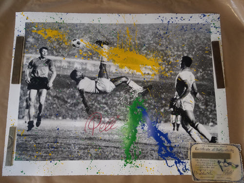 The King Pele by Mr. Brainwash Bicycle Kick Screenprint Poster ##/75 S&N