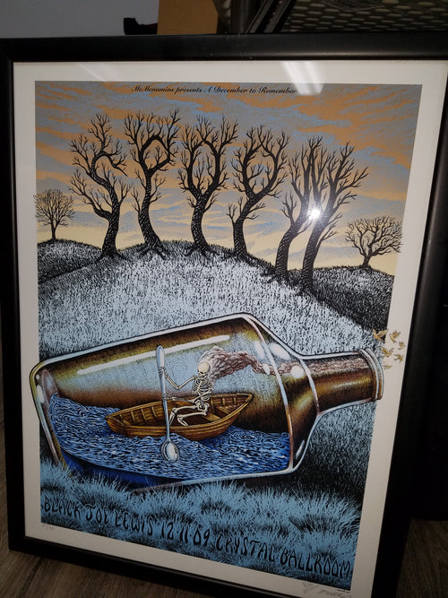 Emek Spoon Black Joe Lewis 2009 Screenprint Poster Crystal Ballroom Portland Oregon xxx/175 FRAMED