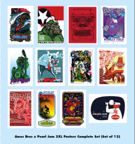 PEARL JAM Ames Bros HOME SHOW 2XL Complete Set of 12 Screenprint Posters S/N xxx/100
