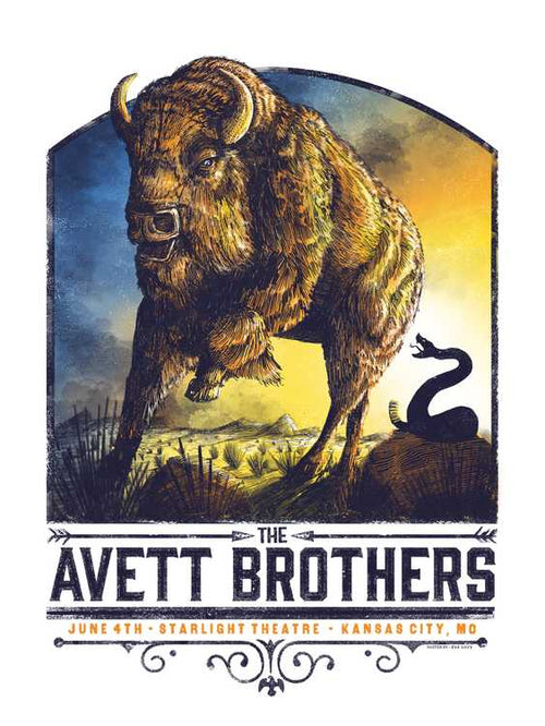 The Avett Brothers Kansas City Starlight Screenprint Poster xx/200 S/N Zeb Love
