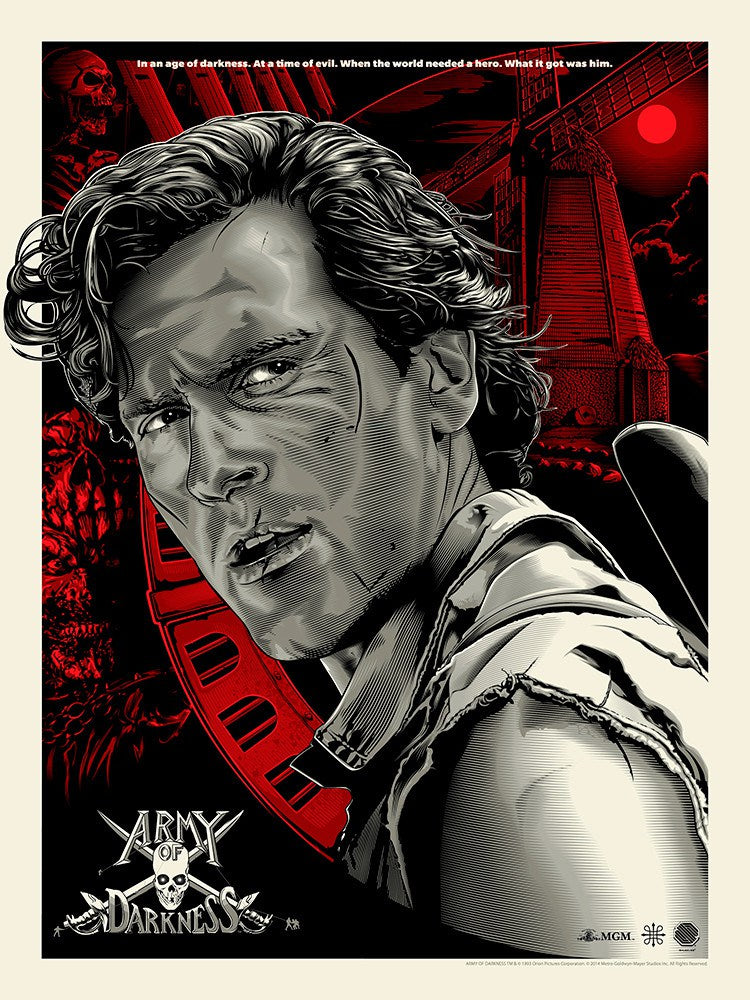 Army of Darkness Red Regular Screenprint Poster xx/150 Skuzzles Bruce Campbell