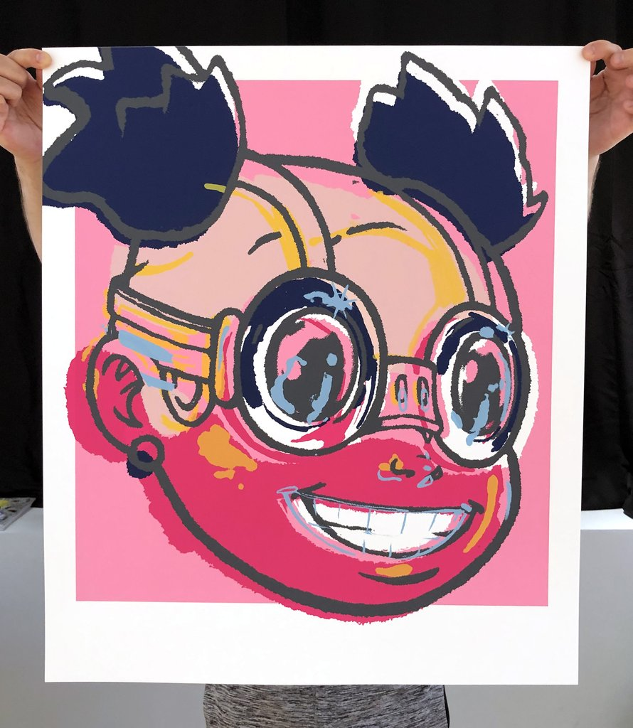 Hebru Brantley LILAC PINK Signed and Roman Numeral #/15