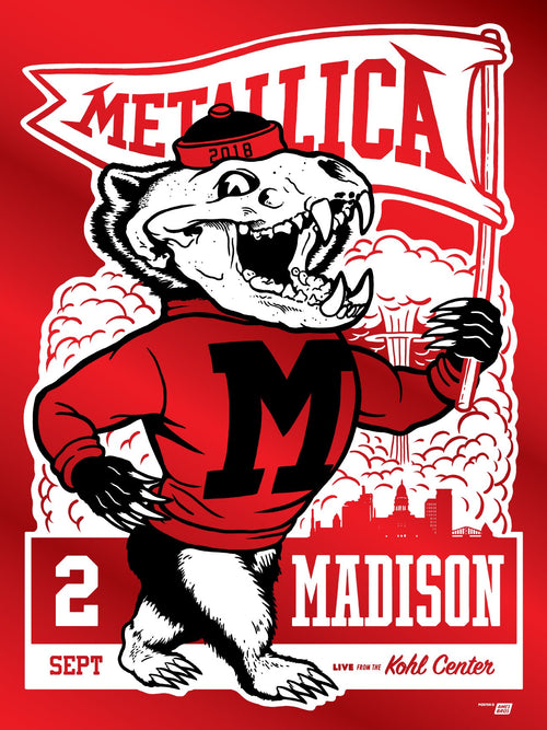 Ames Bros Metallica Madison Wisconsin Red Foil September 2, 2018 SOLD OUT S/N ##/30