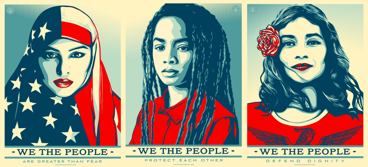 Shepard Fairey Obey Giant We The People Set of 3 Posters Defend Greater Protect!