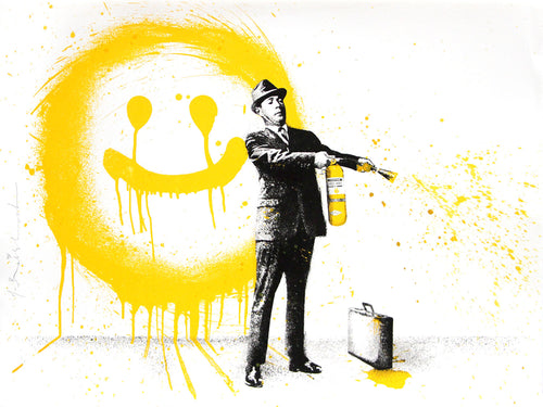 Mr. Brainwash Spray Happiness Yellow Screenprint Poster S/N ##/75 Ready to Ship