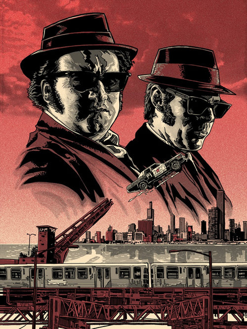 Elwood and Joliet Jake (Variant) Screen Print Poster Tim Doyle S/N'd xx/25