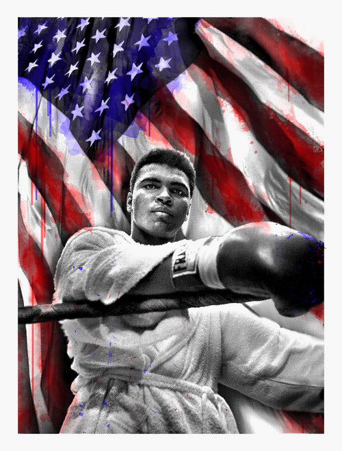 Mr. Brainwash American Hero Muhammad Ali American Hero 77th Birthday Screenprint Poster