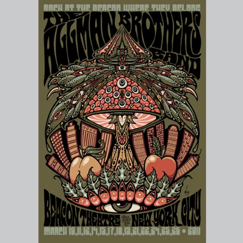 2011 THE ALLMAN BROTHERS BAND BEACON THEATRE NYC POSTER FRAMED