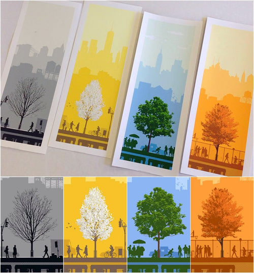4 Seasons NYC Print Set 4 Screen Print Poster Set Limited Edition xx/1000 S/N'd