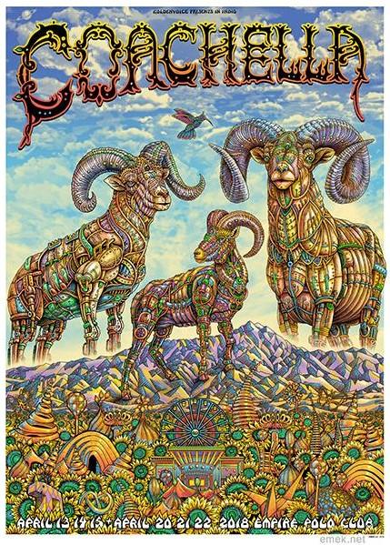 Emek Coachella 2018 Indio California S/N/embossed/doodled of 100 Screenprint poster