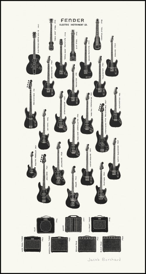 Electric Instrument Co Dirty Black Edition Borshard Screenprint Fender Guitars