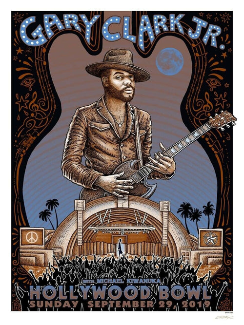 Gary Clark Jr Hollywood Bowl Emek Limited Edition Screenprint Poster xxx/100 S/Ned