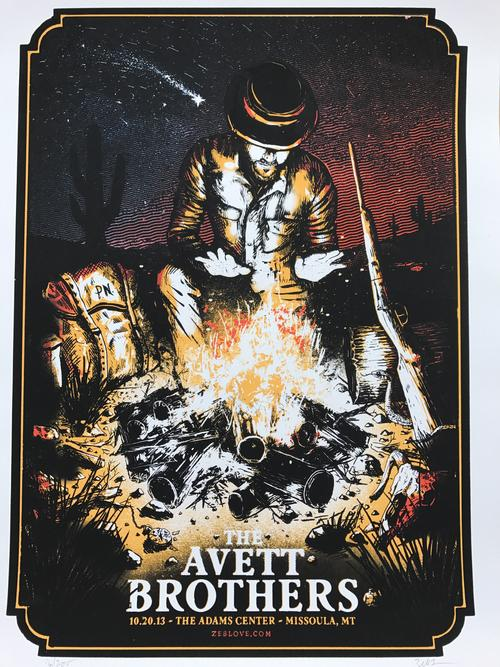 The Avett Brothers Missoula Screen Print Poster Zeb Love