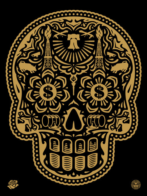 """The Power & Glory Day of the Dead Skull"" by Ernesto Yerena & Shepard Fairey S/N'd"