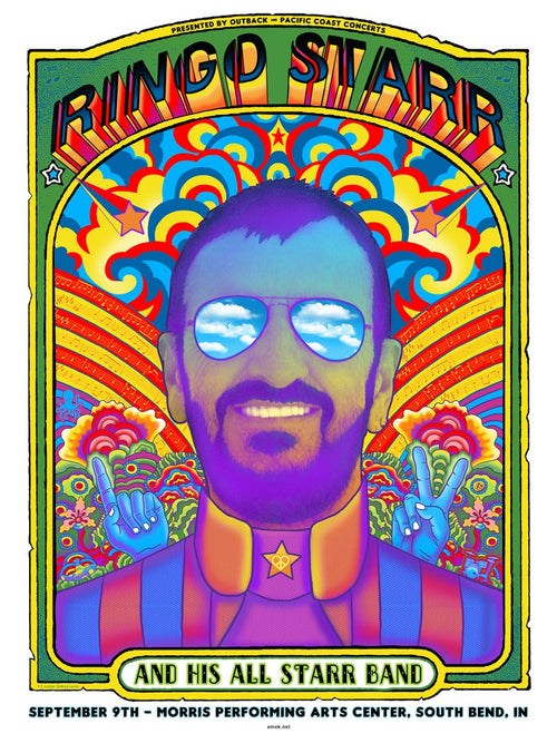 Emek Ringo Starr 11 color screenprint poster S/N xx/99 South Bend Indiana September 9, 2018