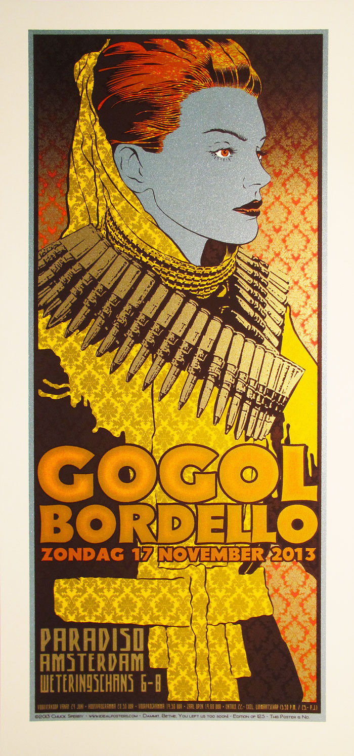 Chuck Sperry Gogol Bordello Paradiso Amsterdam 2013 Poster signed numbered