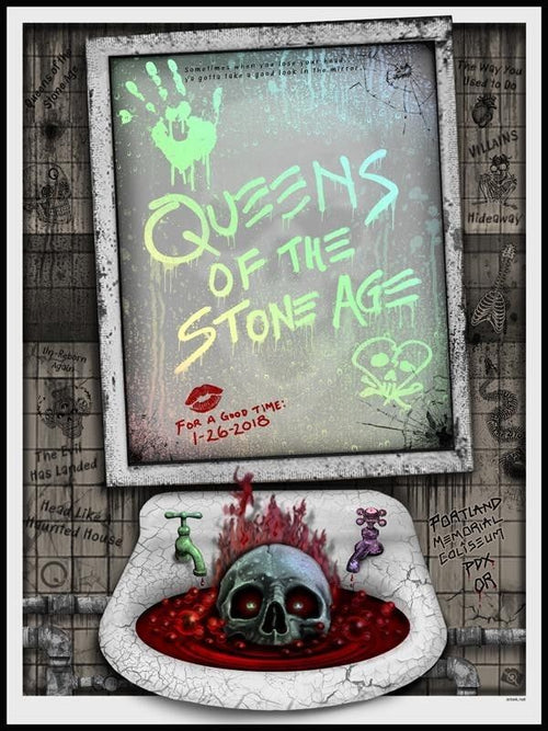 Queens of the Stone Age Mirror Foil Screenprint Poster By Emek, S/N'ed, xxx/450