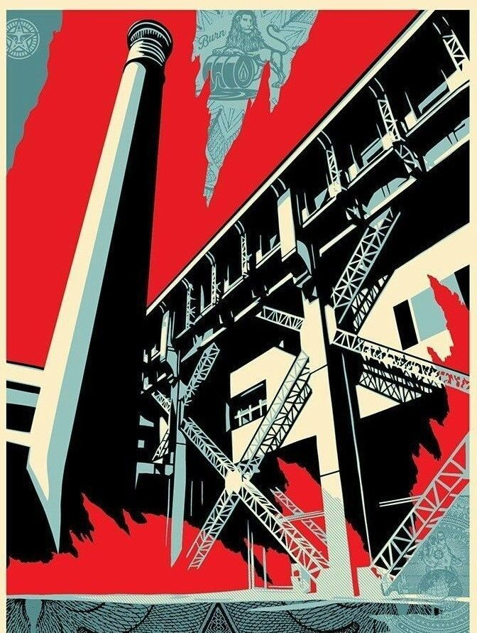 Shepard Fairey Fossil Factory Print Poster Greater We The People Obey Art 2017 S/N'd