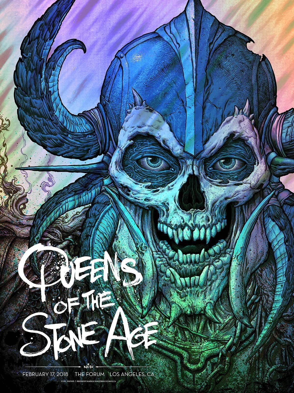 Queens of the Stone Age: L.A. Forum Gig Poster Moonlava Foil Variant S/N'd xx/40