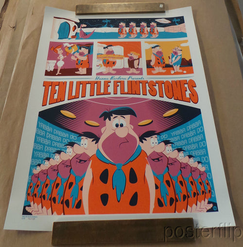 Ten Little Flintstones Screenprint Poster Mondo Dave Perillo xx/175