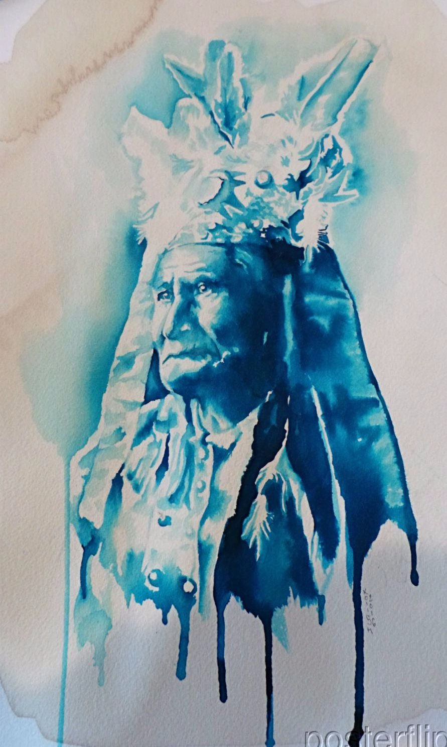Koiish Watercolor Original painting 1/1 Indian Keystone Pipeline print