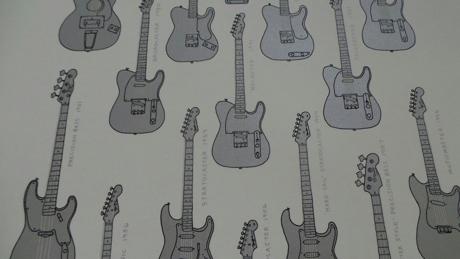 Electric Instrument Co Silver Edition Borshard Screenprint Poster Fender Guitars