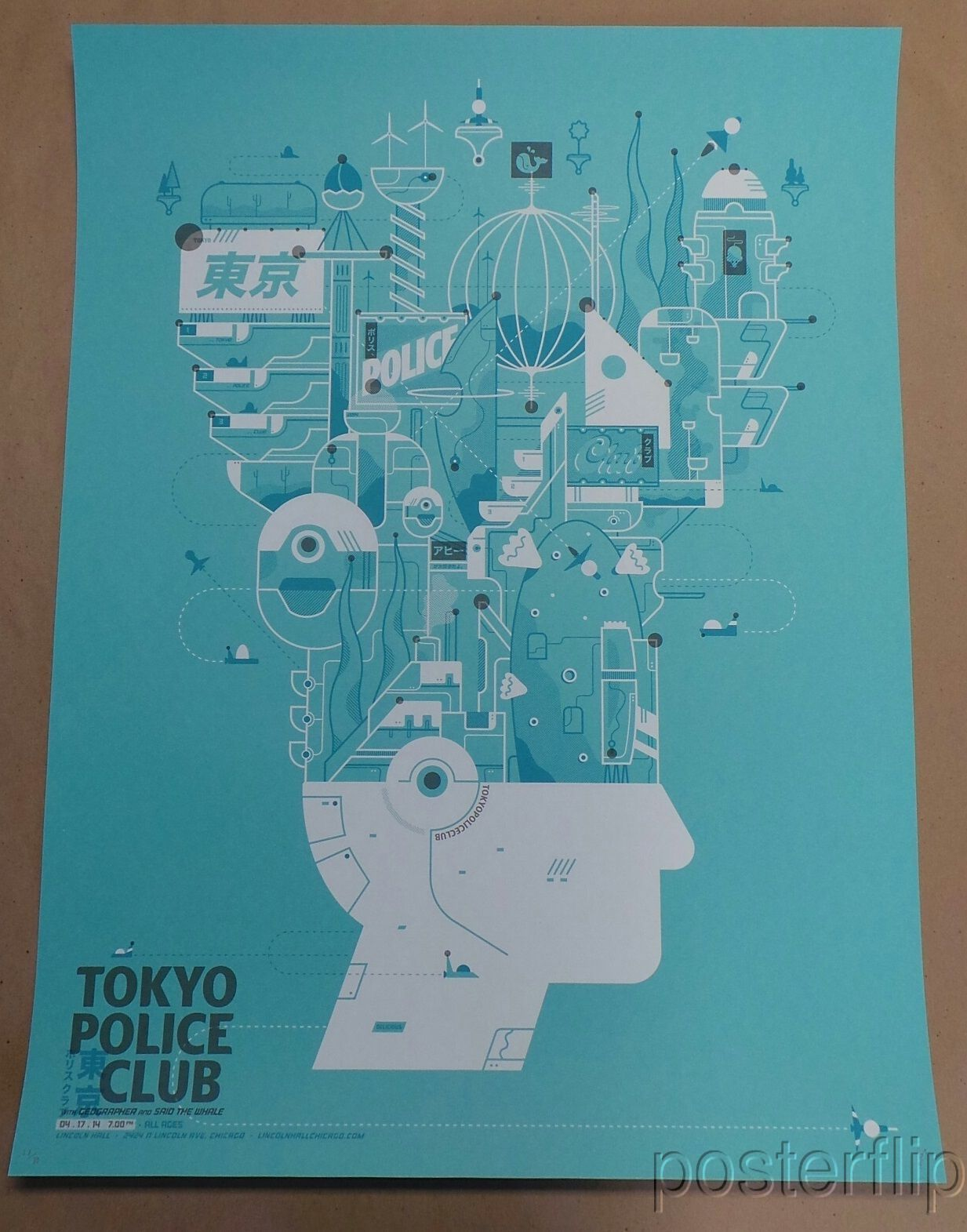 Tokyo Police Club Chicago Screenprint Poster Delicious Design League xx/80