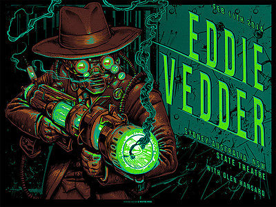 next of Eddie Vedder Sydney Australia Munk One Screenprint Signed/Numbered xx/100