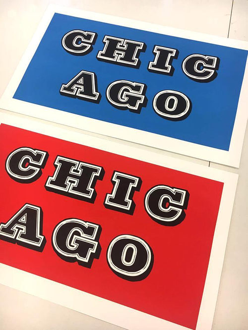 Ben Eine Chicago Set Red & Blue Only 25 Matching Sets! S/N xx/75