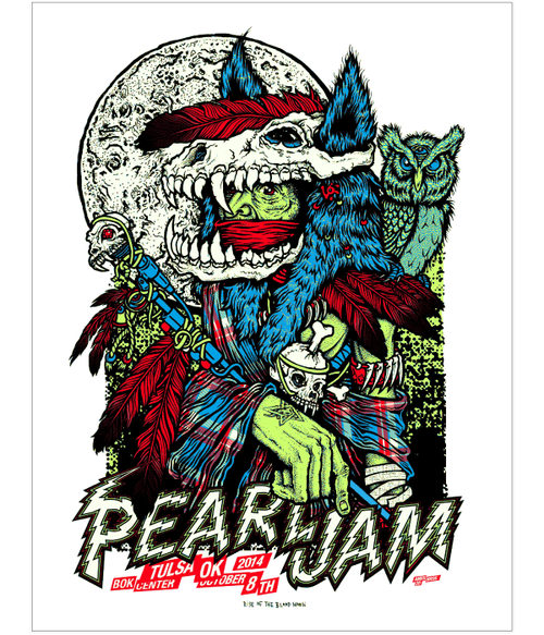 Pearl Jam Tulsa OK Glow-in-the-Dark Screenprint Poster Signed Ames Bros