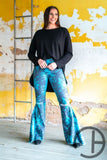 Blue Turquoise High Waisted Bell Bottoms
