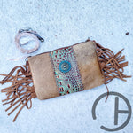 Concho Tooled Leather Cowhide Crossbody Clutch
