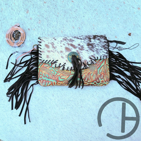 Flap Tooled Leather Cowhide Crossbody Clutch