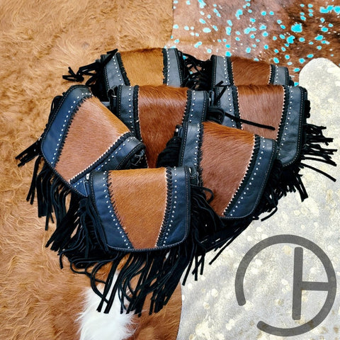 Mini Black Cowhide Fringe Crossbody