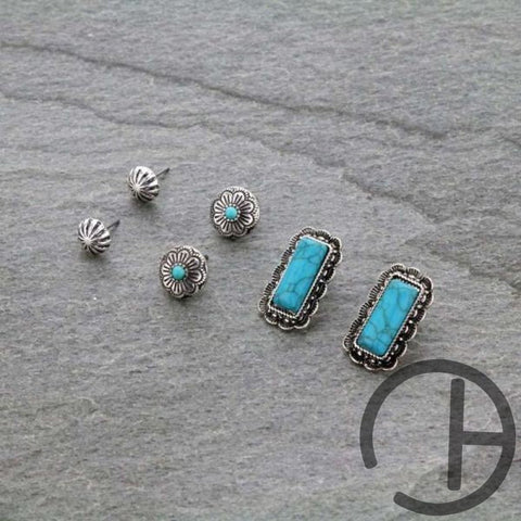 Turquoise 3 Pack Earrings