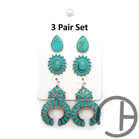 Turquoise Pack Of 3 Earrings