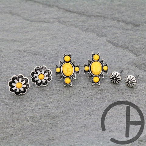 Yellow 3 Pack Earrings
