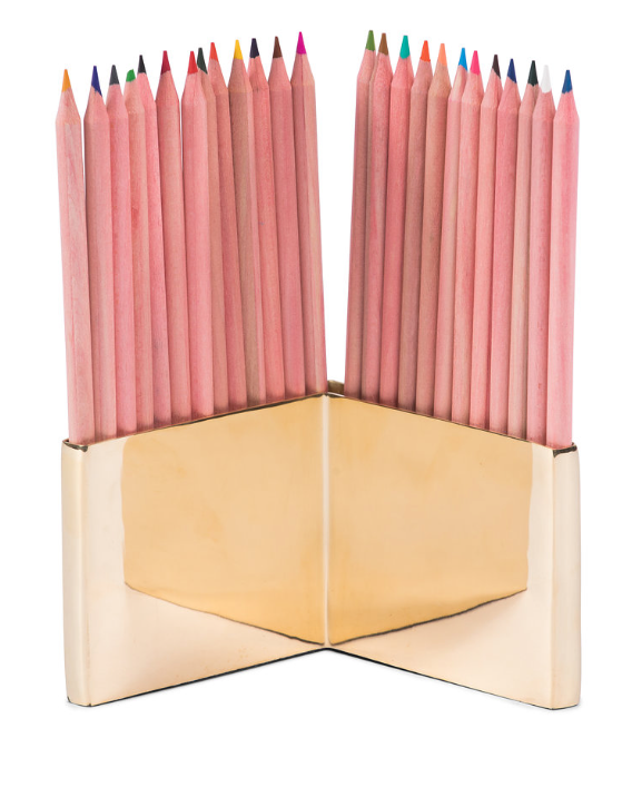 Brass Pencil Holder & Colored Pencils
