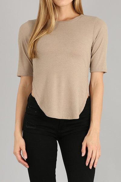 taupe 'side slit' top