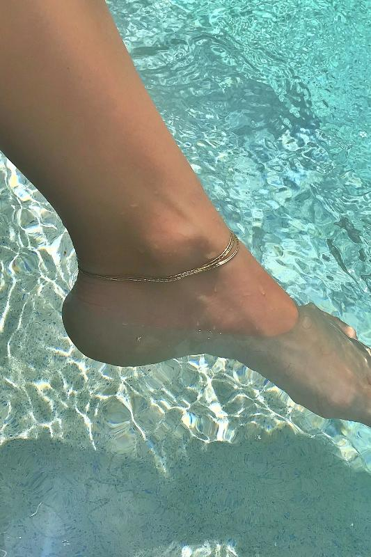 gold 'multi chain' anklet