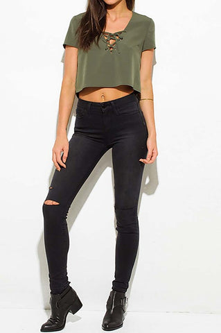 olive 'lace up' crop top