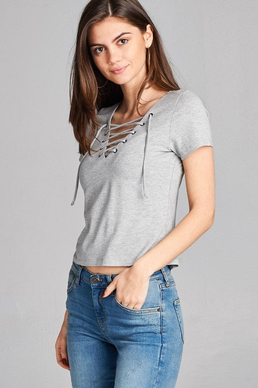 gray 'lace up' top