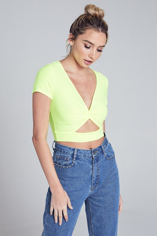 neon yellow 'christie' crop top