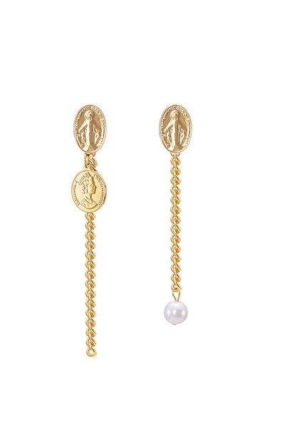 gold & pearl 'believer' earrings