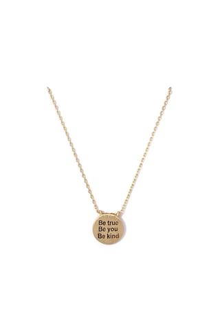 gold 'be true be you be kind' mini pendant