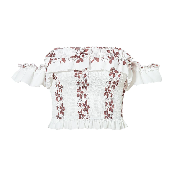 white 'elizabeth' floral crop top