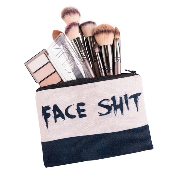 'face shit' cosmetic bag