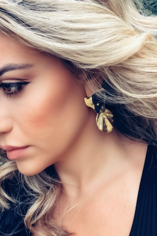 gold 'leaf' earrings